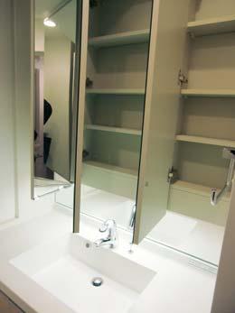 アゼリア学芸大学_洗面台の鏡にある収納スペース(開放状態)